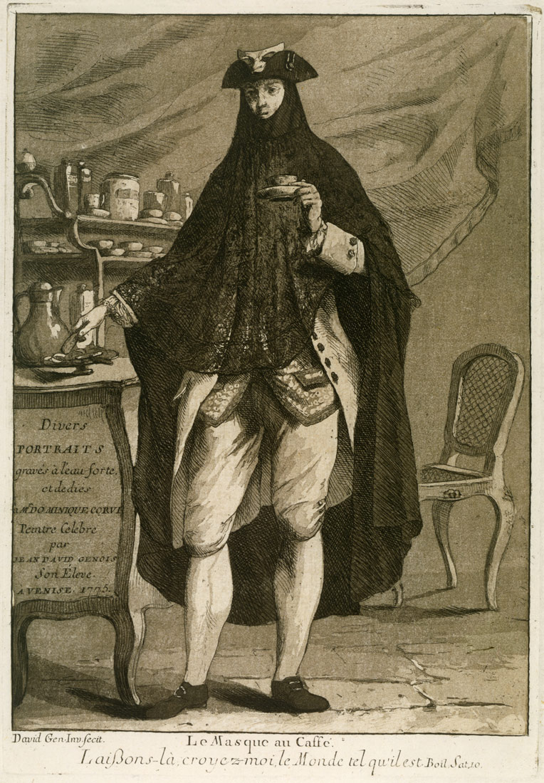 A man wearing a mask drinking a cup of coffee (Le Masque au Caffé), Title page to 'Divers Portraits'   Giovanni David   1979.525.1   Work of Art   Heilbrunn Timeline of Art History   The Metropolitan Museum of Art