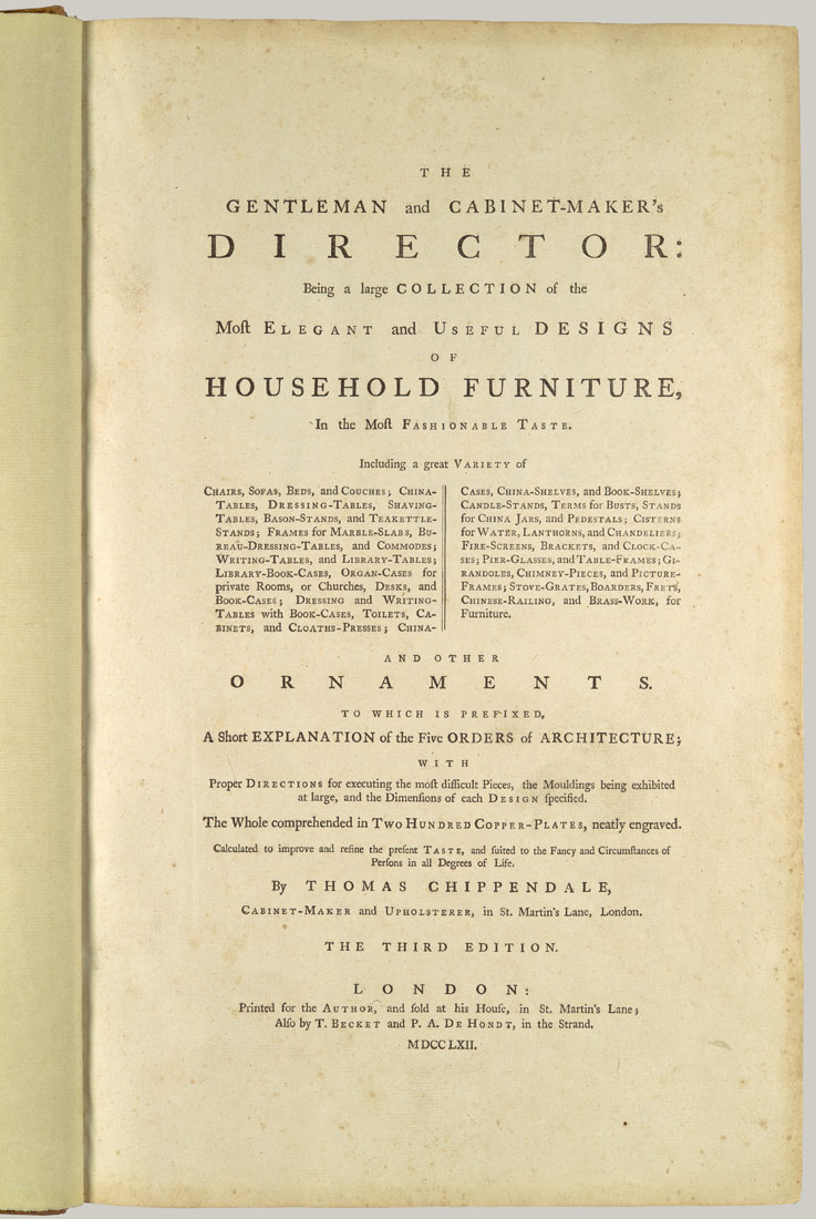 The Gentleman and Cabinet-Maker's Director | Thomas Chippendale ...