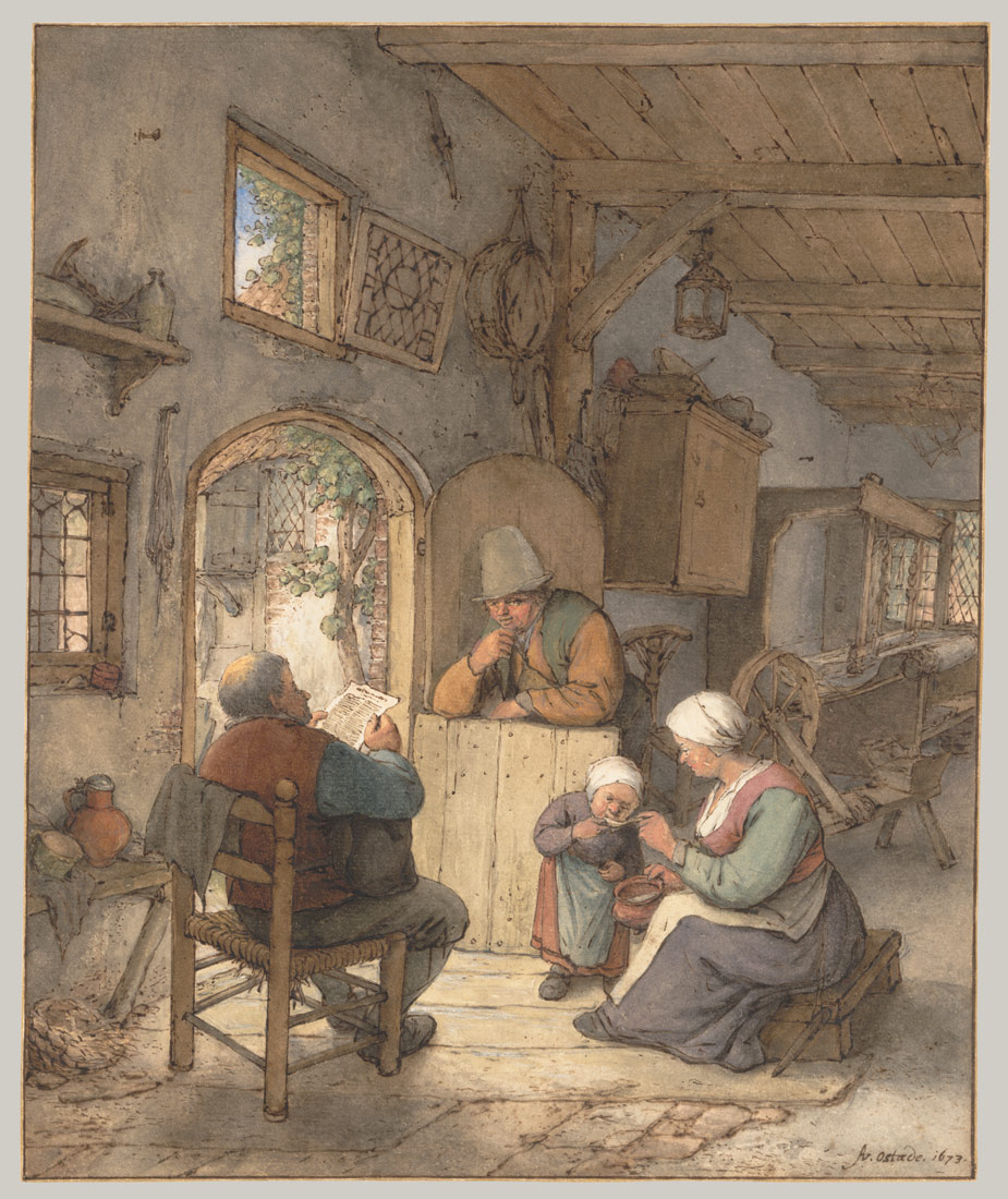 Reading the News at the Weavers' Cottage   Adriaen van Ostade   1997.117.10   Work of Art   Heilbrunn Timeline of Art History   The Metropolitan Museum of Art