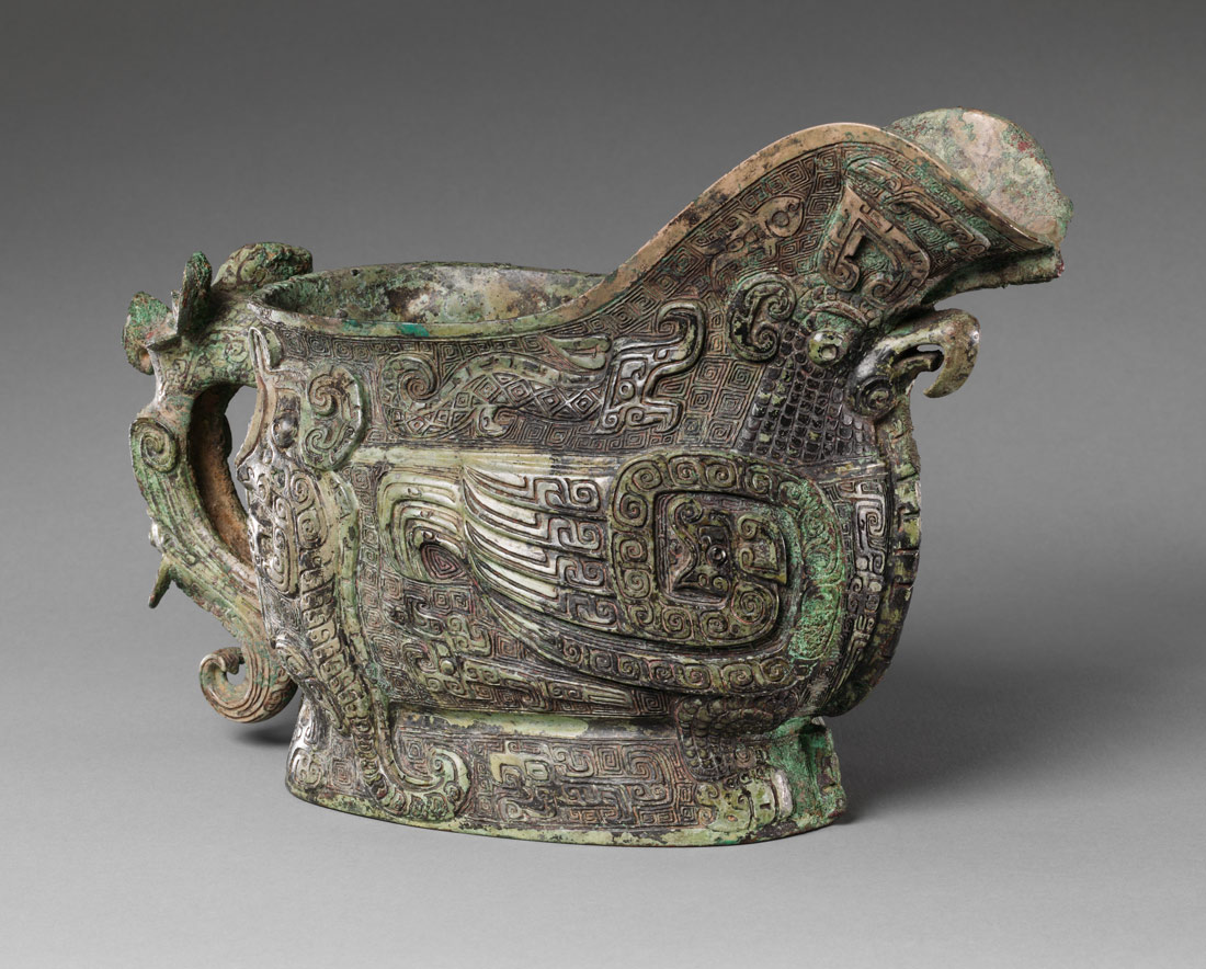 Bronze spouted ritual wine vessel
