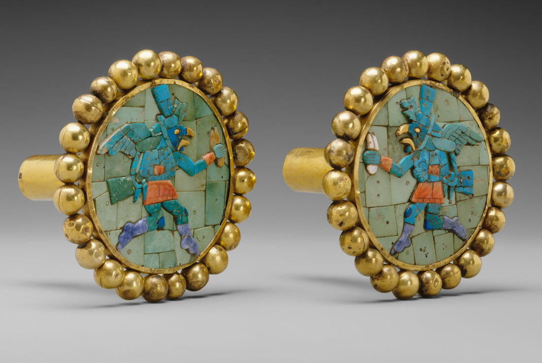 Pair of Ear Ornaments with Winged Runners