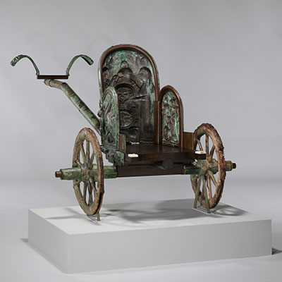 Bronze chariot inlaid with ivory