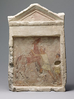 Painted limestone funerary slab with a man controlling a rearing horse