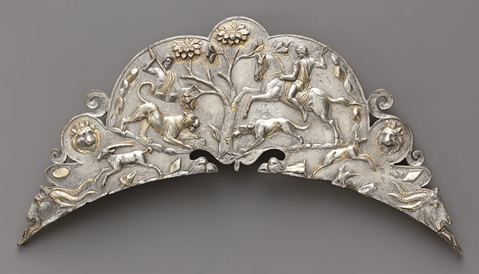 Silver handle of a large dish