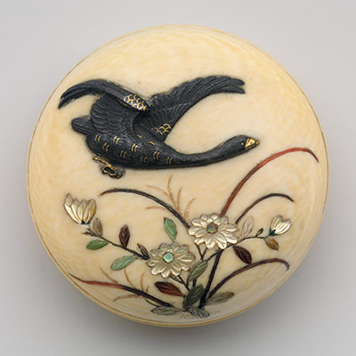 Netsuke of Flying Goose over Flowers