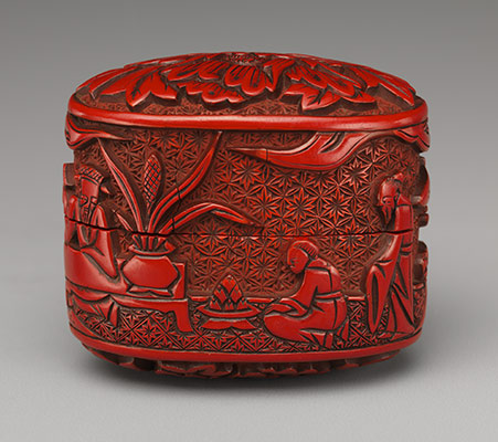 Box with figures in a landscape and peony