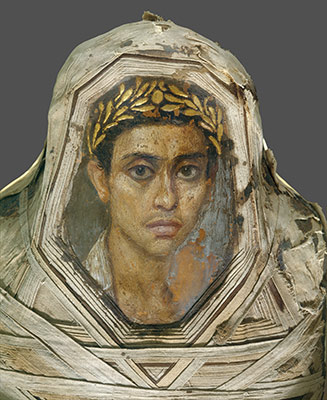 Mummy with an Inserted Panel Portrait of a Youth