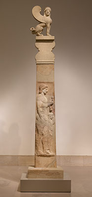 Marble stele (grave marker) of a youth and a little girl