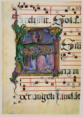Manuscript Illumination with the Assumption of the Virgin in an Initial A, from an Antiphonary