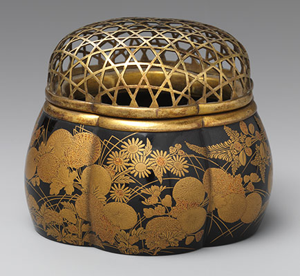 Incense Burner in the Shape of a Melon with Autumn Flowers and Grasses