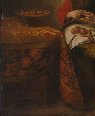 Young Woman Peeling Apples