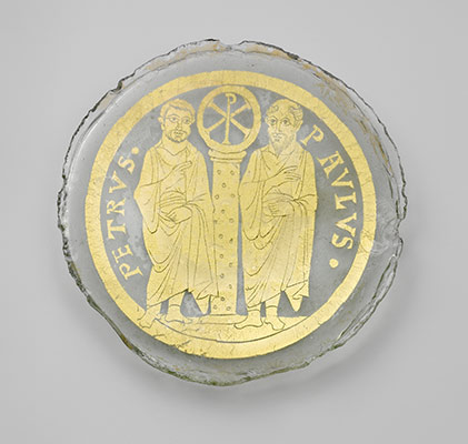 Bowl Base with Saints Peter and Paul Flanking a Column with the Christogram of Christ