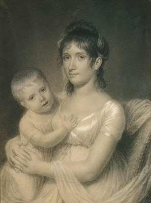 Mrs. Daniel Strobel, Jr. (Anna Church Strobel) and Her Son, George