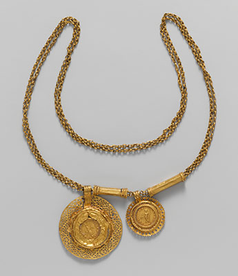 Gold necklace with coin pendants