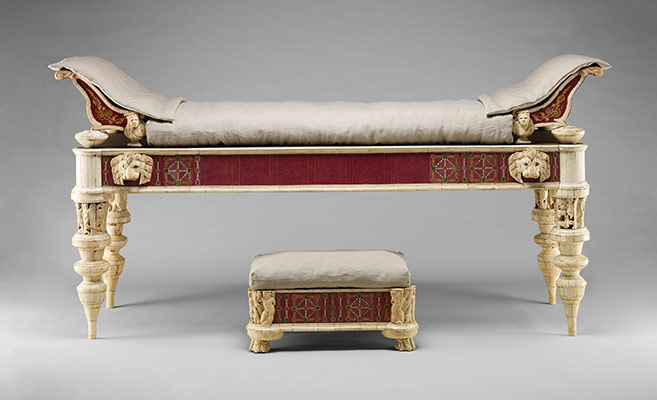 Couch and footstool with bone carvings and glass inlays