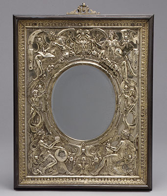 Relief mounted as a mirror frame