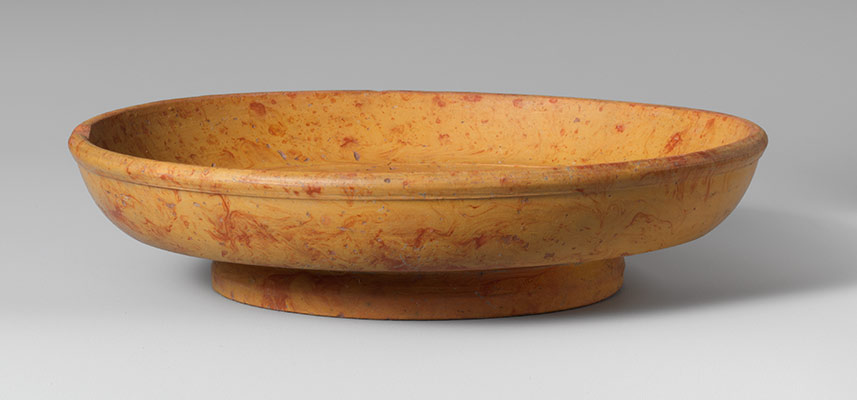 Terracotta marbled slip ware bowl