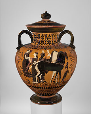Terracotta neck-amphora (jar) with lid and knob (27.16)