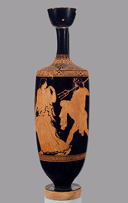 Lekythos (oil flask) depicting Poseidon pursuing Amymone