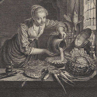 Milkmaid after the painting of G.Dou in the Cabinet of Mr. Poullain