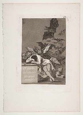 Plate 43 from Los Caprichos: The sleep of reason produces monsters (El sueño de la razon produce monstruos)