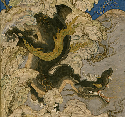 Isfandiyars Third Course: He Slays a Dragon, Folio 434v from the Shahnama (Book of Kings) of Shah Tahmasp