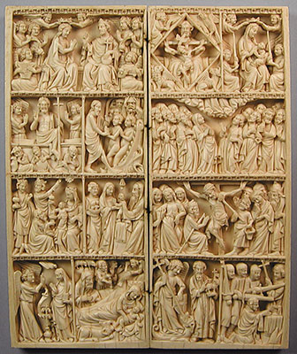 Diptych with Scenes of the Life of Christ and the Virgin, Saint Michael, John the Baptist, Thomas Becket, and the Trinity