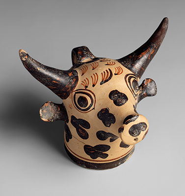 Terracotta vase in the form of a bulls head