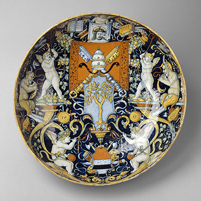 Bowl with the Arms of Pope Julius II and the Manzoli of Bologna surrounded by putti, cornucopiae, satyrs, dolphins, birds, etc.