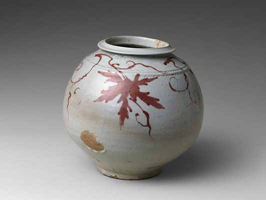 Jar with decoration of grapevine