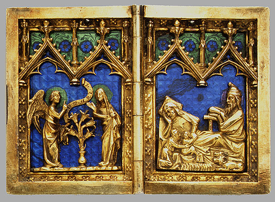 Diptych With Scenes Of The Annunciation Nativity Crucifixion And Resurrection