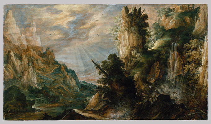 A Mountainous Landscape with a Waterfall: Kerstiaen de Keuninck
