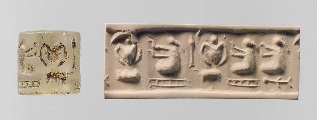 Cylinder seal and modern impression: three pigtailed ladies with double-handled vessels