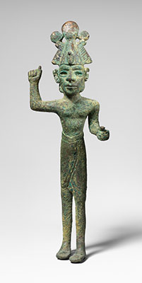 Smiting god wearing an Egyptian atef crown