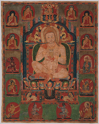 Portrait of Jnanatapa surrounded by lamas and mahasiddhas