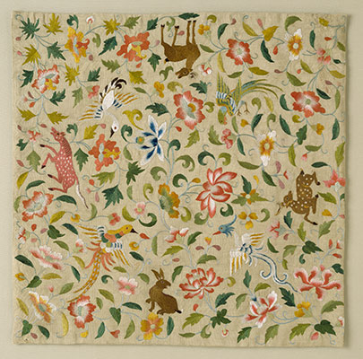 Embroidered Square with Animals, Birds, and Flowers