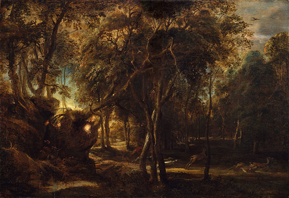A Forest at Dawn with a Deer Hunt
