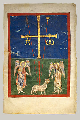 Leaf from a Beatus Manuscript: the Lamb at the Foot of the Cross, Flanked by Two Angels; The Calling of Saint John with the Enthroned Christ flanked by Angels and a Man Holding a Book
