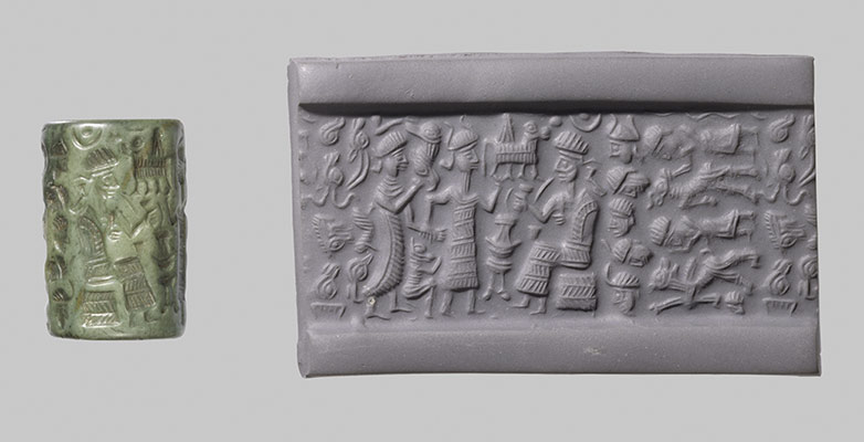 Cylinder seal and modern impression  goddess leading a worshiper to a  seated deity  bull 682f705178