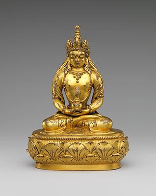 Seated Buddha Amitayus Mongolia, 17th - 18th century Gilt bronze Gift of The Kronos Collections, 1992