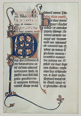 Manuscript Leaf with Initial M, from a Missal