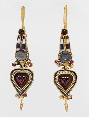 Pair of gold earrings with an Egyptian Atef crown set with stones and glass