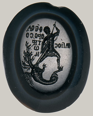 Intaglio with Saint Theodore Teron Slaying a Many-Headed Dragon