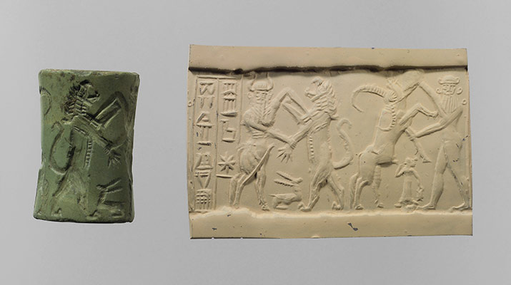 Cylinder seal and modern impression: bull-man combatting lion; nude hero combatting water buffalo; inscription