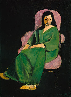 Laurette in a Green Robe (Black Background)