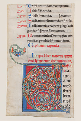 Manuscript Illumination with Initial V, from a Bible