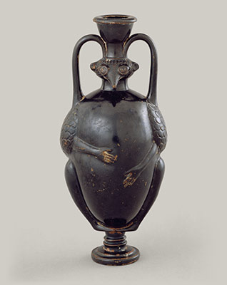 Terracotta amphoriskos (flask) in the form of a bird-man