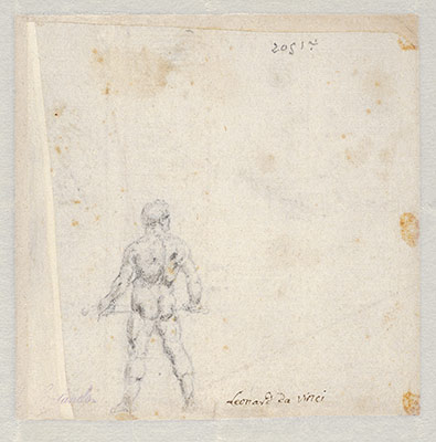 Studies for Hercules Holding a Club Seen in Frontal View, Male Nude Unsheathing a Sword, and the Movements of Water (Recto); Study for Hercules Holding a Club Seen in Rear View (Verso)