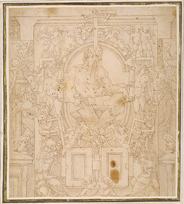 Design for a Wall Decoration with a River God and Putti carrying the Symbols of King François I
