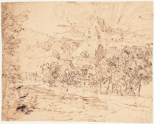 Study of a Palm Tree (recto); Mountain Landscape (verso)